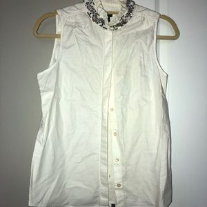 J.Crew white sleeveless button down blouse